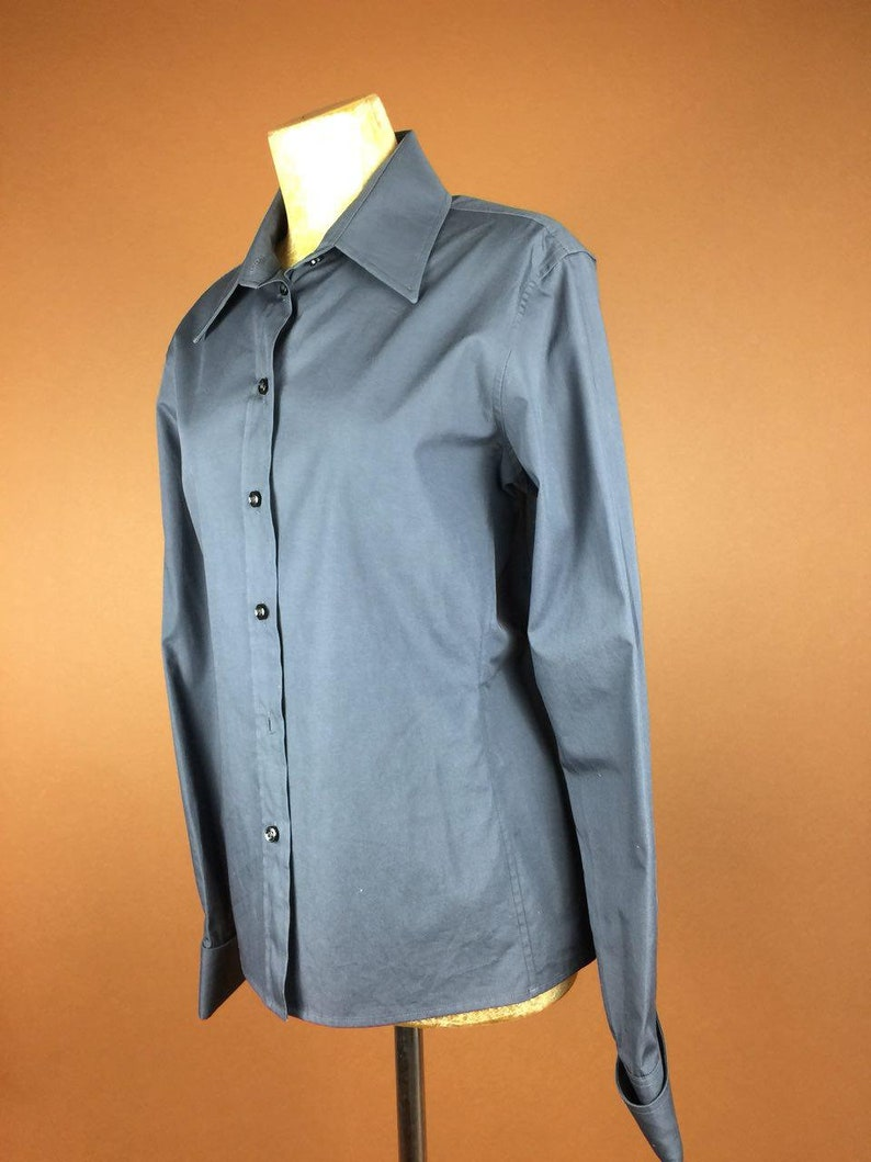 YSL Vintage Designer 90/'s Blouse Yves Saint Lauren Rare Authentic Collectible Rockabilly Shirt Grey XS S  Long Sleeve With Cuffs Formal Wear