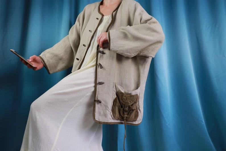 Oversized jacket Linen Pocketed XL 80\u2019s