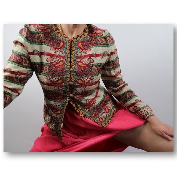 Wedding Evening Wear,Silk Blouse,Cropped Sleeves Blouse,Adrianna PAPEL Evening Bolero size S Baroque Formal Bolero by ADRIANNA PAPELL
