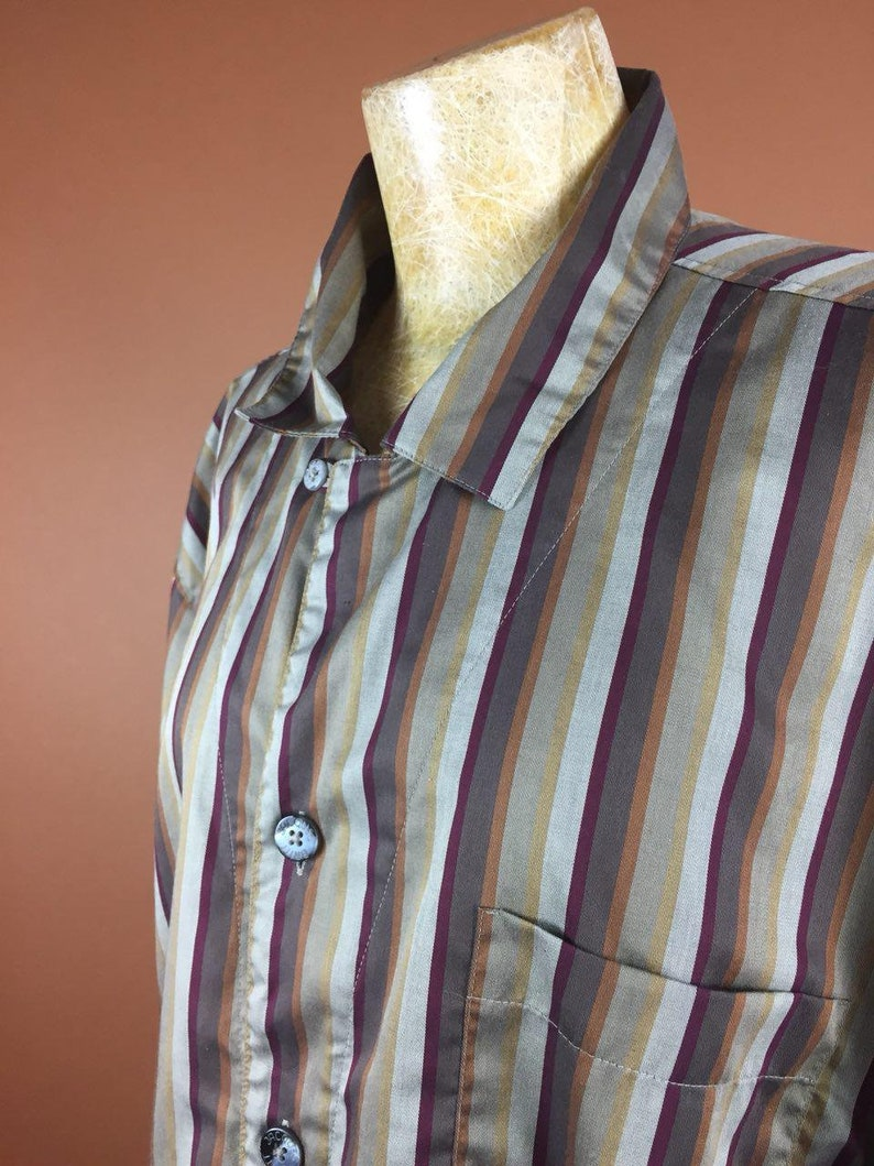 Print Cotton 1980/'s Vintage Blouse Striped Brown Beige Shirt Slouchy Large Oversized WomenTop Long Sleeves Buttons Up Minimalist Secretary
