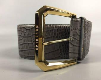 Moschino Belt Vintage Gray Belt Gold Buckle Belt 90s Vintage Belt Women Gray Belt Vintage Moschino 90s Gold Buckle Belt Women Gray Belt 90s