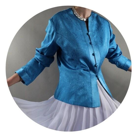 Silk women's 90s jacket mandarin collar long sleev