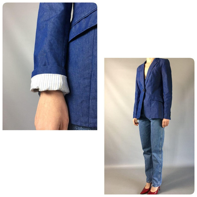 438037b574e Formal 90s Vintage Jacket Fitted Double Breasted Blue Striped