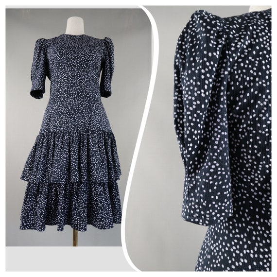 Women vintage Polka Dot dress Fitted ruffled Poet