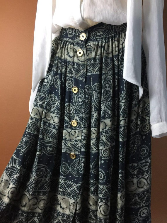 10UK Mod 8US Designer Skirt Max Skirt Paisley Retro Gypsy Skirt Ethnic Medium Italy Waisted in Length VTG Print Fall High Made Pleated Mara qAfYqPXx
