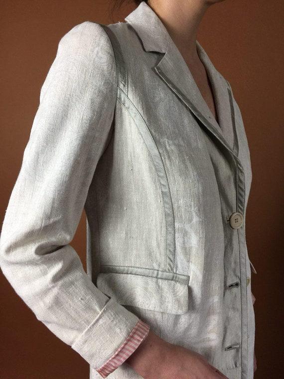 Coat Linen S ETRO Sz 6 Gray Boho Minimalist Coat Jacket Uk 90's Hippie 8 Sheer Vintage Jacket Beige Designer US Buttoned Spring Long Sleeve AqrAnT4