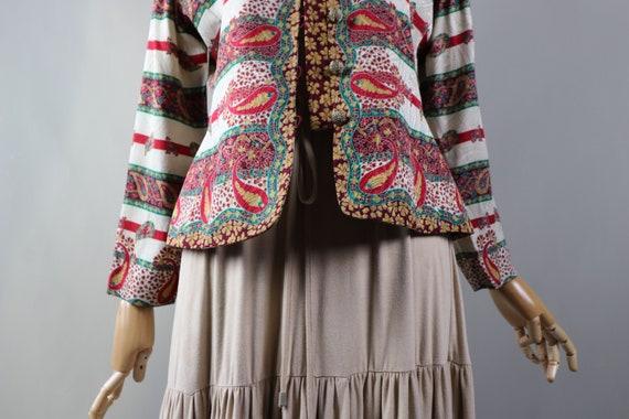 SILK vintage jacket Adrianne Papel  White red crop
