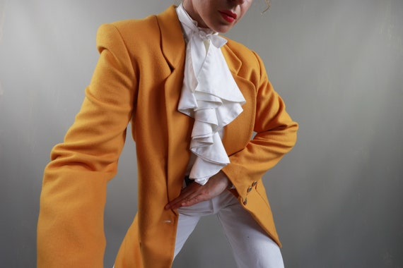 Wool vintage jacket Yellow Long warm women's blaze