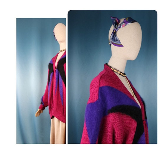 Vintage knit cardigan Long Mohair 1980's