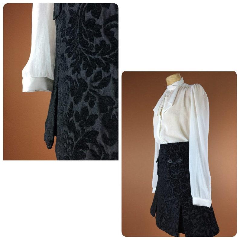 9d8e3cc45f405f Jupe noire 1990 Vintage jupe Xs S 6 nous 8 UK petite sauge soirée jupe  Floral print Midi jupe jupe a-ligne 80 ' s skirt jupe de brocart
