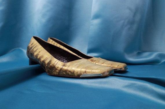 Leather vintage shoes ESCADA Square Toe shoe Gold
