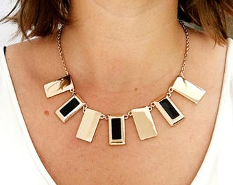 Vintage artdeco necklace- 70's-80's style art deco revival short necklace in gold and black plates adjustable length