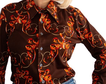 b9c8b75893d1a0 Retro print blouse | Vintage button down with pointed collar | Brown with  orange red dragons | Gold Label Made in Canada | Size L