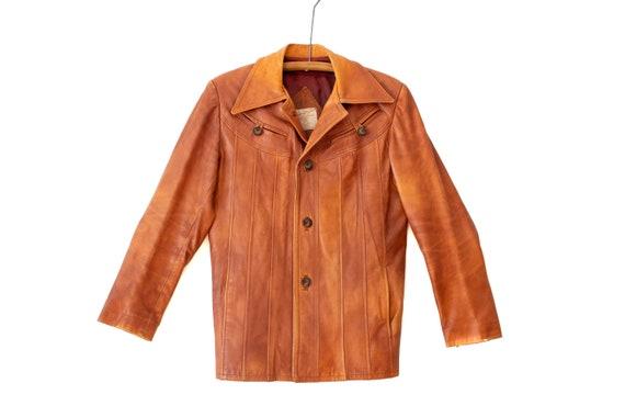 Vintage 80s Caramel Brown Leather Vest Size M L