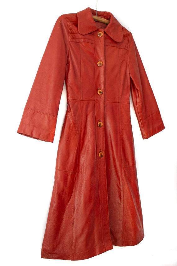 1960's - 1970's Orange-Brown Leather Duster Jacke… - image 3