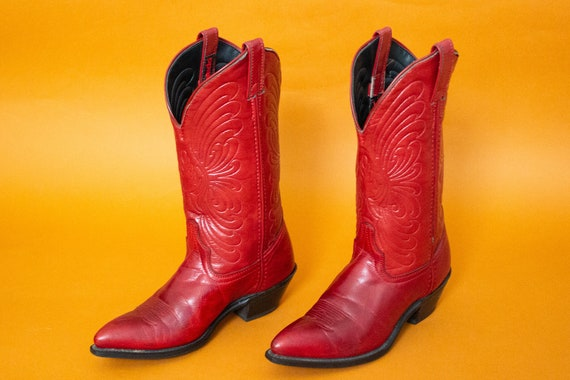 Vintage Laredo Red Leather Cowboy Boots | Stamped