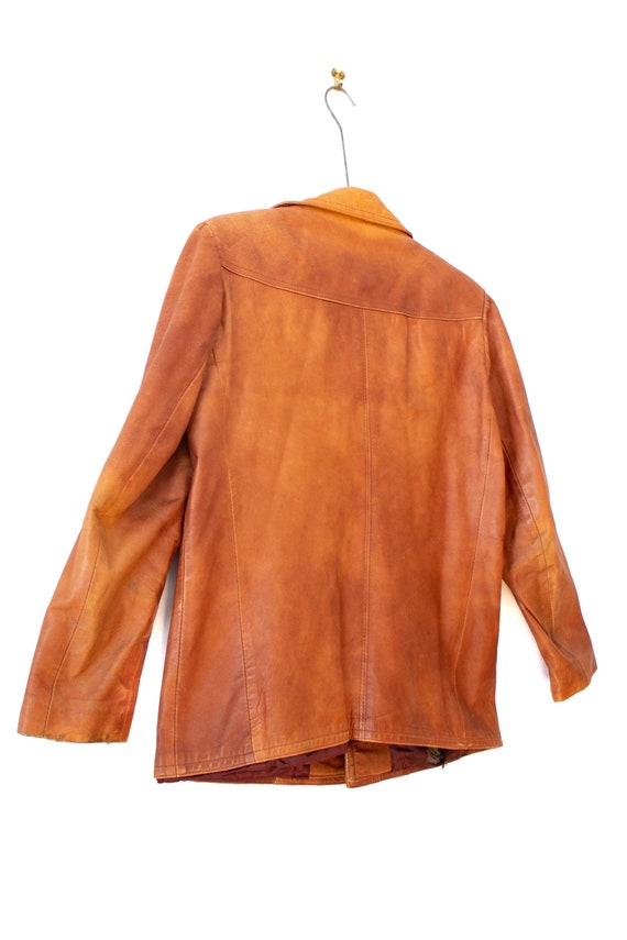 1970's Caramel Brown Leather Jacket with Dagger C… - image 7