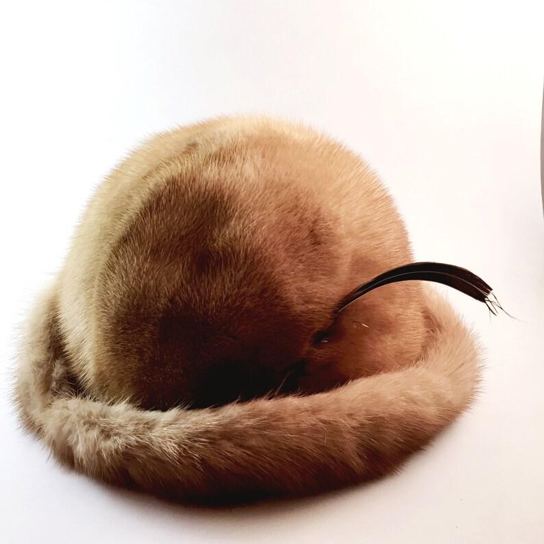 8327594bef417 Rare vintage mink fur bowler hat Beautiful rimmed real mink