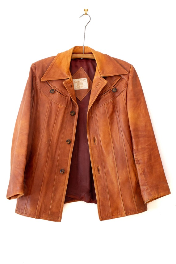 1970's Caramel Brown Leather Jacket with Dagger C… - image 3