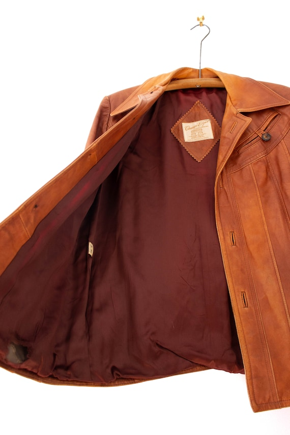 1970's Caramel Brown Leather Jacket with Dagger C… - image 9
