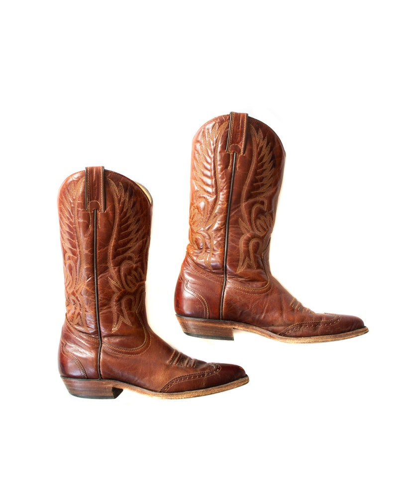 Women/'s Size 7 12 usa Authentic stamped leather western boots Made in Canada BOULET Cowboy boots in cherry brown