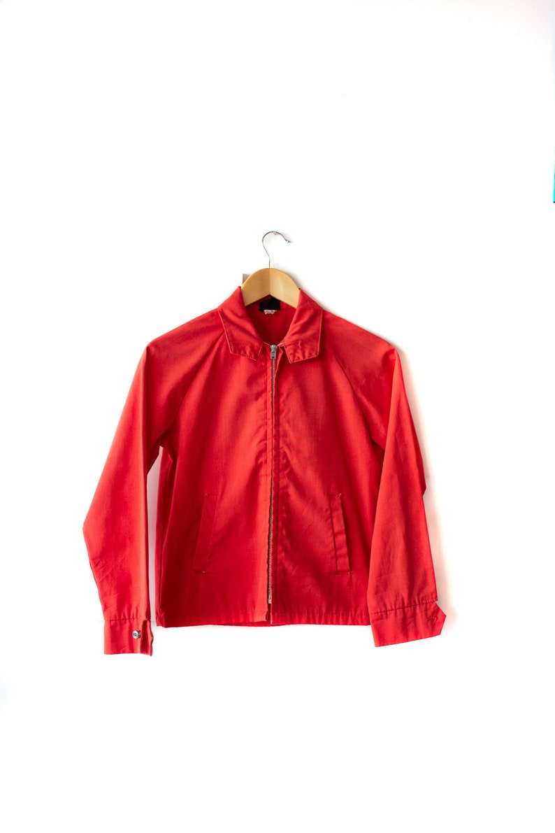 Size Women/'s Small Vintage Rice Sportswear Gas Workwear Jacket Bright Red Made in Canada