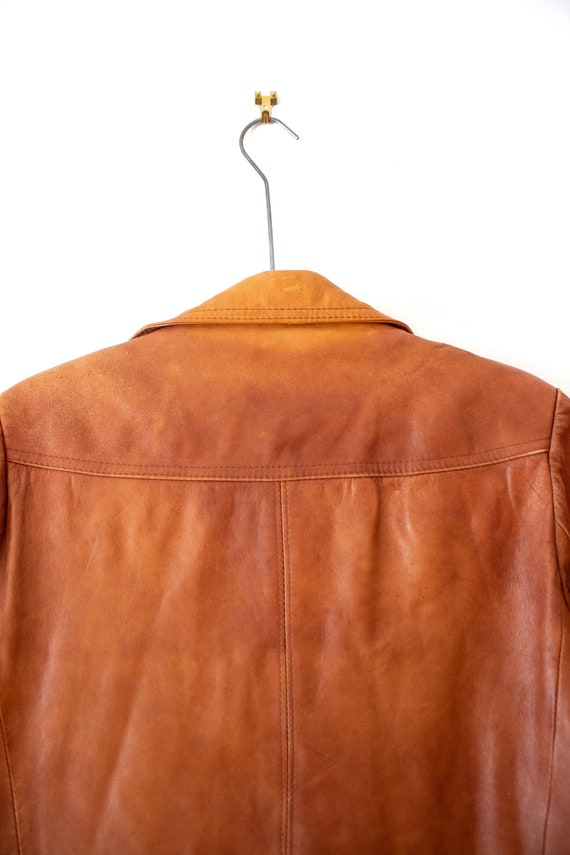 1970's Caramel Brown Leather Jacket with Dagger C… - image 8