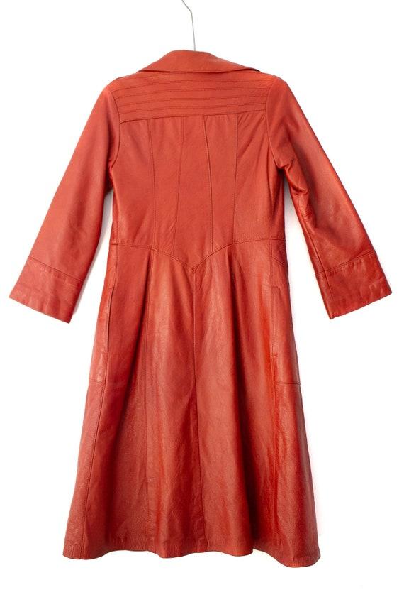 1960's - 1970's Orange-Brown Leather Duster Jacke… - image 2