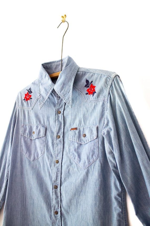 1970's Landlubber Floral Embroidered Denim Button… - image 5