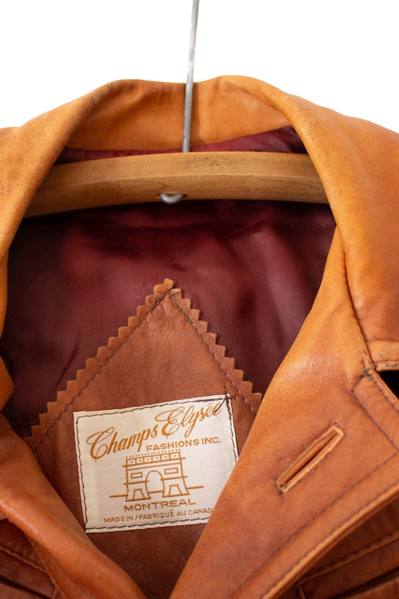 1970's Caramel Brown Leather Jacket with Dagger C… - image 10