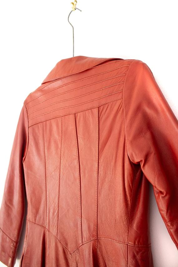 1960's - 1970's Orange-Brown Leather Duster Jacke… - image 7