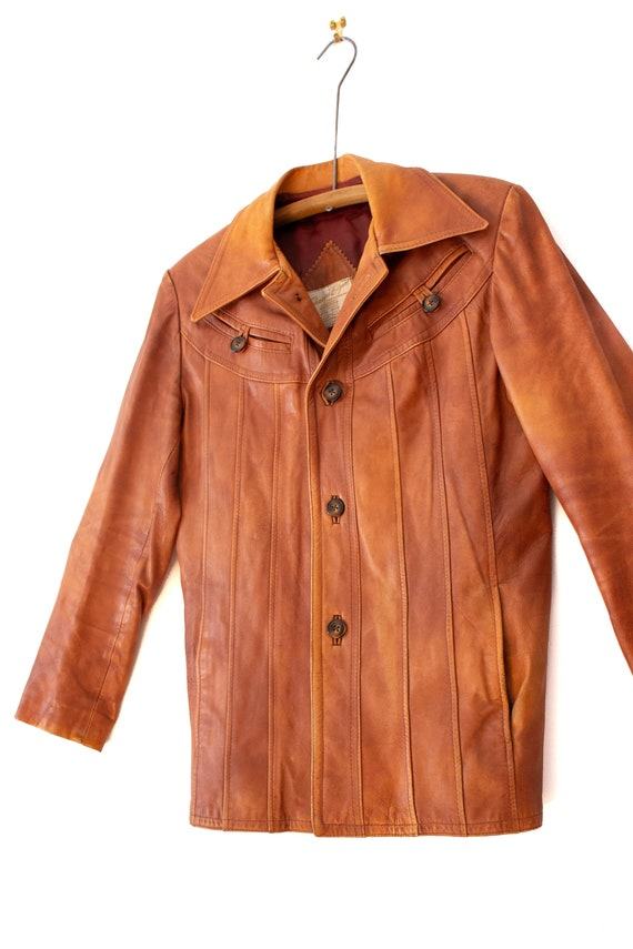 1970's Caramel Brown Leather Jacket with Dagger C… - image 6