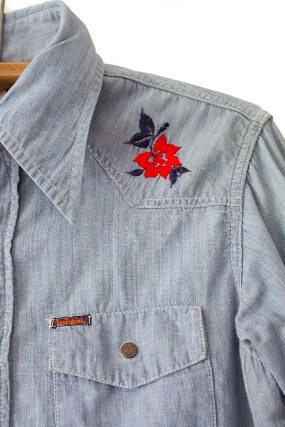 1970's Landlubber Floral Embroidered Denim Button… - image 6