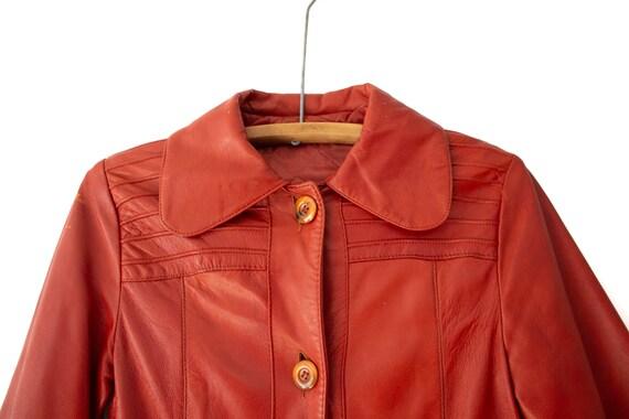 1960's - 1970's Orange-Brown Leather Duster Jacke… - image 4