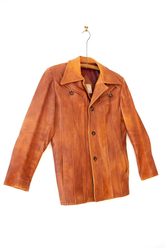 1970's Caramel Brown Leather Jacket with Dagger C… - image 5