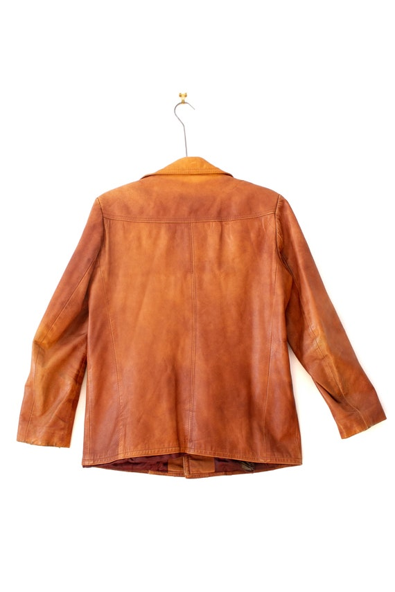 1970's Caramel Brown Leather Jacket with Dagger C… - image 2