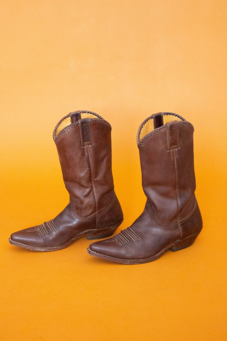 Ranchwear USA Men/'s 8.5 Women/'s 10 Made in Spain Authentic Western Boots Vintage SANCHO Dark Brown Leather Cowboy Boots