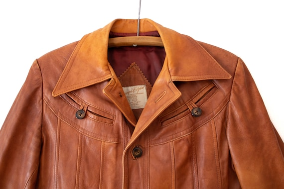 1970's Caramel Brown Leather Jacket with Dagger C… - image 4