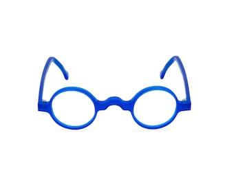 96fcada203  GROUCHO  Blue Crystal Handmade glasses. Perfectly round keyhole bridge  1920s 30s style Rx ready or readers