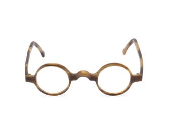7b357a0e2a  GROUCHO  Taupe Tortoise Handmade round keyhole bridge 1920s 30s style  spectacles Rx ready or reading glasses