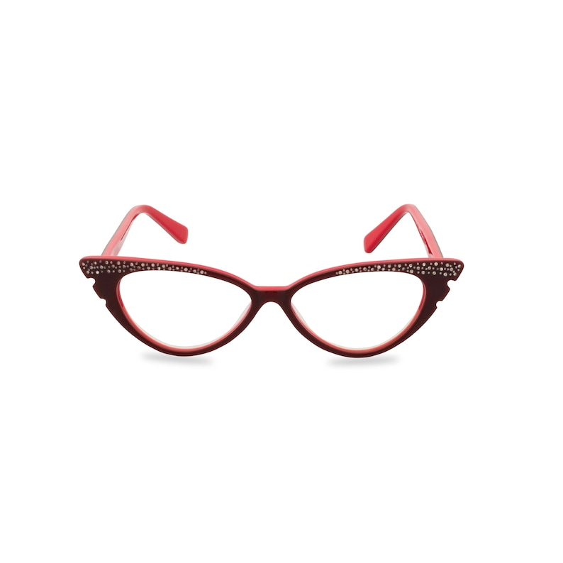 1950s Sunglasses & 50s Glasses | Retro Cat Eye Sunglasses Sassy retro cat eye 50s style glasses with diamante studded wing tip. Ready for your prescription lenses Marilyn in sultry red $32.69 AT vintagedancer.com