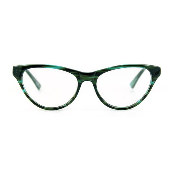 Retro Sunglasses | Vintage Glasses | New Vintage Eyeglasses Stunning contemporary sophistiCATed cat eye glasses.Hand made flexible lightweight and sexily serious AUDREY Teal Sea $39.50 AT vintagedancer.com