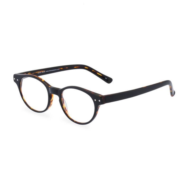 Easy 1940s Men's Fashion Guide Classic 40s style HANDMADE spectacles MILLER in Black Tortoise for men & women. Unique double layer Italian acetate.Rx Frame or readers $64.90 AT vintagedancer.com
