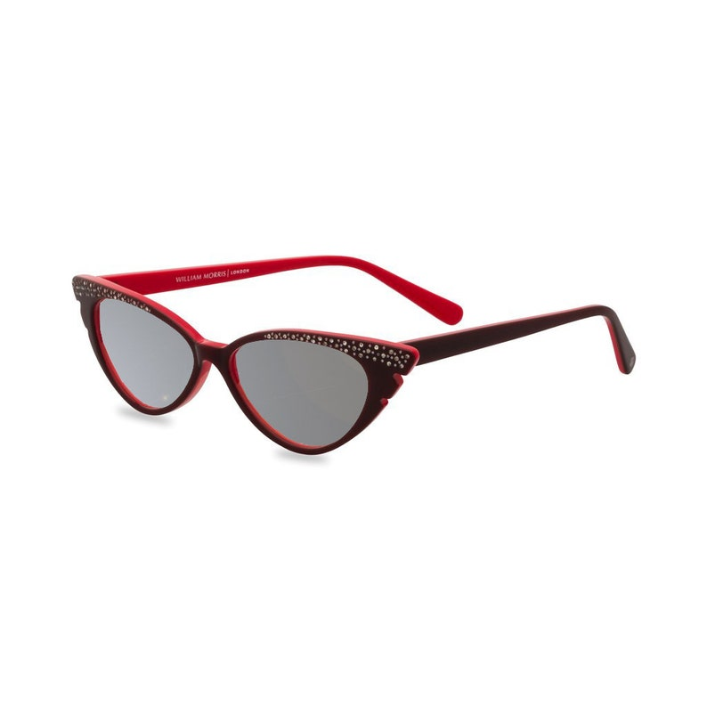 1950s Sunglasses & 50s Glasses | Retro Cat Eye Sunglasses Sassy retro cat eye 50s style sunglasses with diamante studded wing tip Marilyn in sultry red $59.35 AT vintagedancer.com