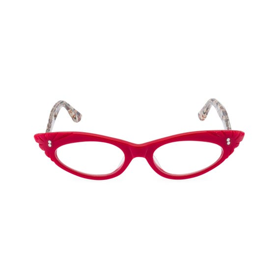 1950 Style Clothing- A Shopping Guide 1950s rockabilly cat eye glasses GINA Vixen Red Handmade with love! Reading strength or reglaze to your optical prescription $66.74 AT vintagedancer.com