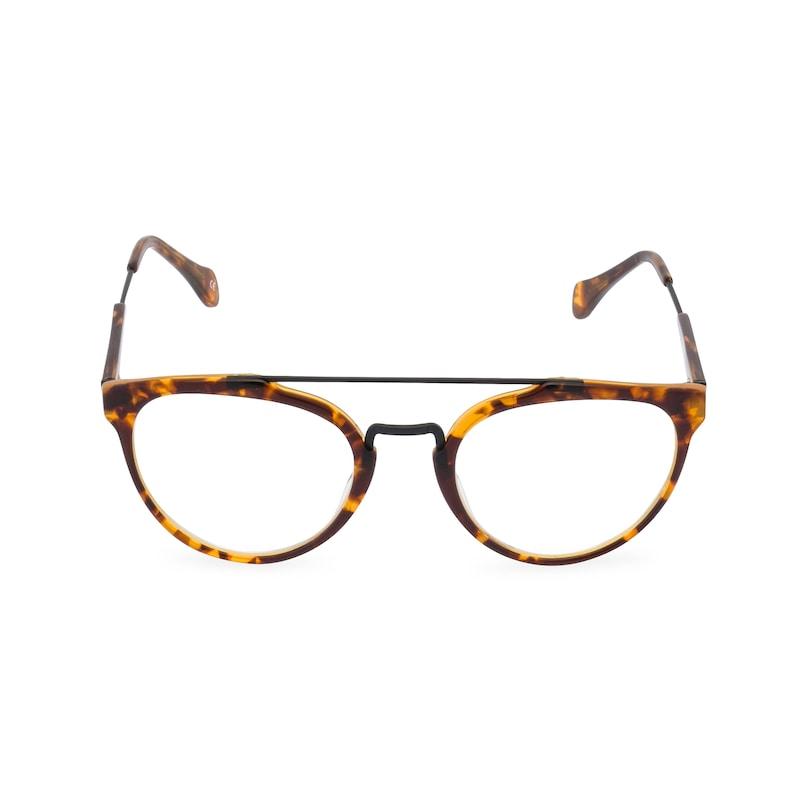 1930s Glasses and Sunglasses History Handmade Ltd EditionRaffles Mens double bridge Amber acetate & black wire rim spectacles a very dapper 1930s/40s style $78.46 AT vintagedancer.com