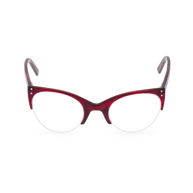 1950s Sunglasses & 50s Glasses | Retro Cat Eye Sunglasses 1950s style classic upswept cat eye ELLA in Volcano Red. Reading strength or frame for your optical prescription or sunglasses $37.92 AT vintagedancer.com