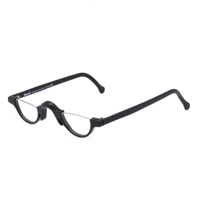 1930s Men's Eye Glasses and Sunglasses Styles Half moon Jazz glasses frame. Repro 1920s 30s style handmade in black acetate. Ready for prescription lenses $142.77 AT vintagedancer.com