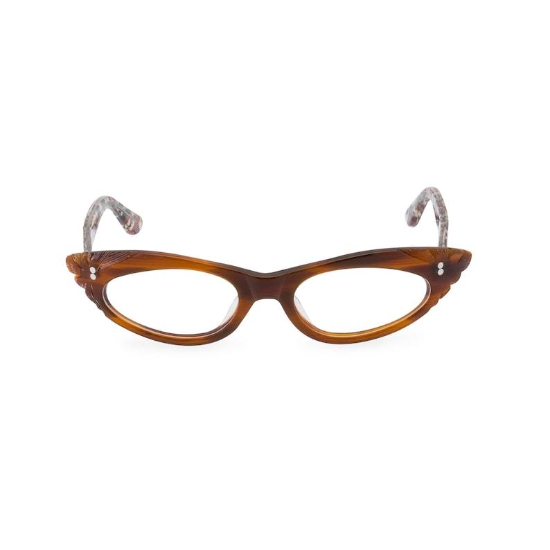 Retro Sunglasses | Vintage Glasses | New Vintage Eyeglasses 1950s Rockabilly cat eye GINA Tawny Brown & Leopard. Reading strength or glaze to your optical prescription $70.67 AT vintagedancer.com