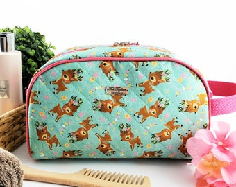 Half Moon toiletry bag made of cotton and structured for form, zippered taco pouch with handle - light mint green with deer and flowers